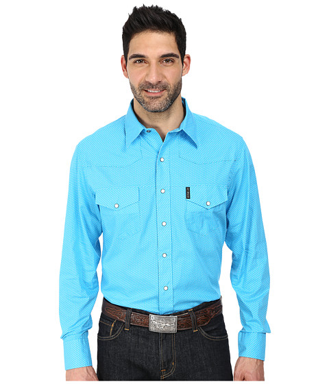 Cinch - Modern Fit Western Plain Weave White Marble Snaps (Blue) Men