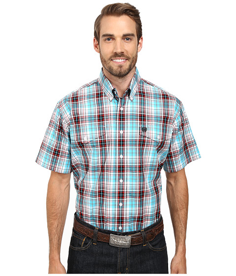 Cinch - Short Sleeve Plain Weave Plaid Double Pocket (White) Men's Clothing