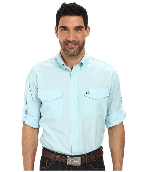 Cinch - Athletic Poly Light Weight Solid Ripstop Woven Long Sleeve Roll Tab Sleeves (Aqua) Men's Long Sleeve Button Up
