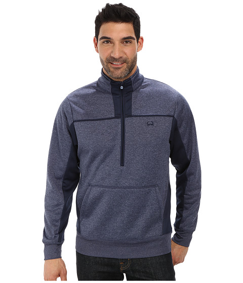 Cinch - Color Blocked Half Zip Bonded Heather Tech Fleece Cuff Waist Ribbing Logo Embroidery (Navy) Men