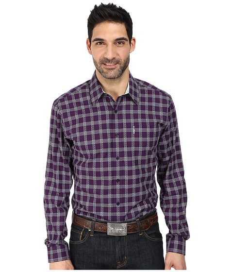 Cinch - Modern Fit Basic Plain Weave Dye To Match Buttons (Purple) Men's Long Sleeve Button Up