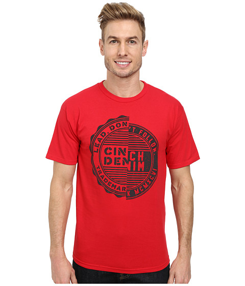 Cinch - Soft Hand Ringspun Jersey Short Sleeve Suede Puff Print (Red) Men's T Shirt