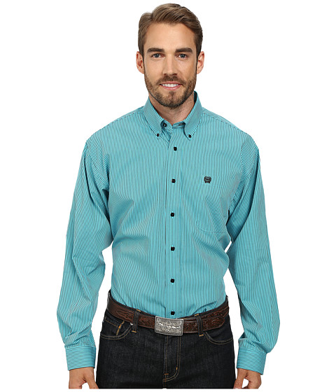 Cinch - Long Sleeve Plain Weave Stripe (Blue) Men