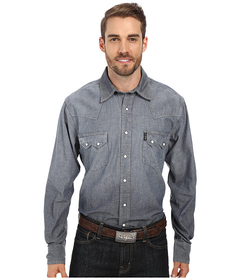 Cinch - Slim Fit Denim (Indigo) Men's Long Sleeve Button Up