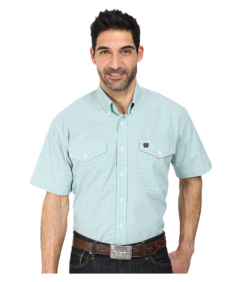 Cinch - Short Sleeve Plain Weave Plaid Double Pocket (White 1) Men