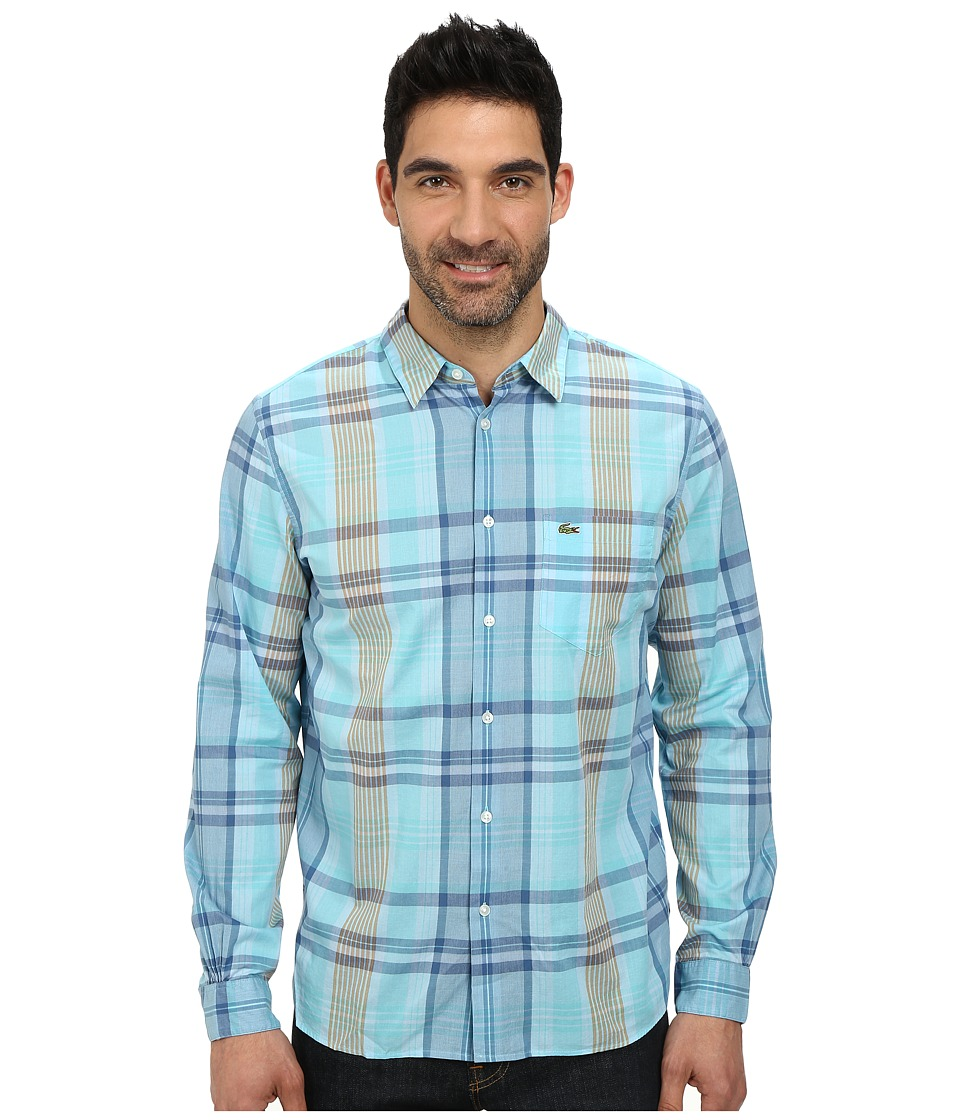 Lacoste - Poplin Long Sleeve Plaid Shirt (Corsica Aqua/Astre Atmosphere Pumpkin) Men