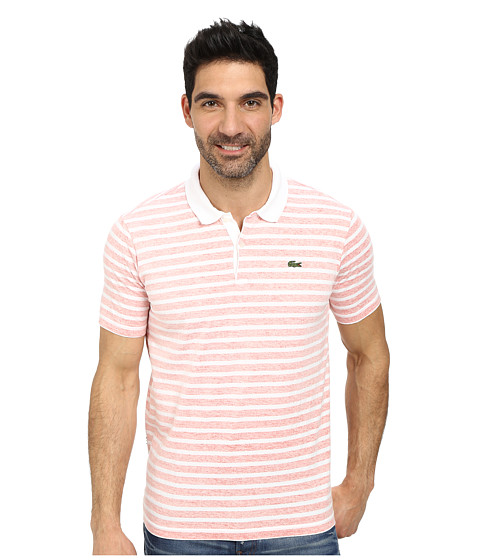 Lacoste - L!Ve Ultra Slim Fit Stripe Jersey Polo (White/Redcurrant Bush) Men