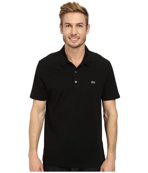 Lacoste - Slubbed Jersey Polo w/ Self Collar/Open Sleeve (Black) Men