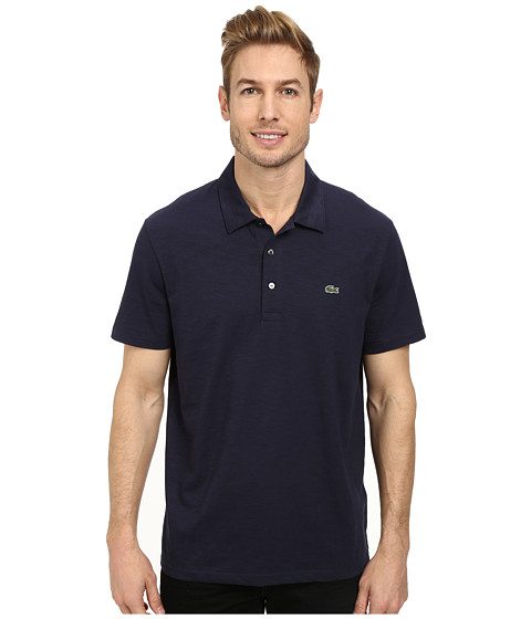 Lacoste - Slubbed Jersey Polo w/ Self Collar/Open Sleeve (Navy Blue) Men