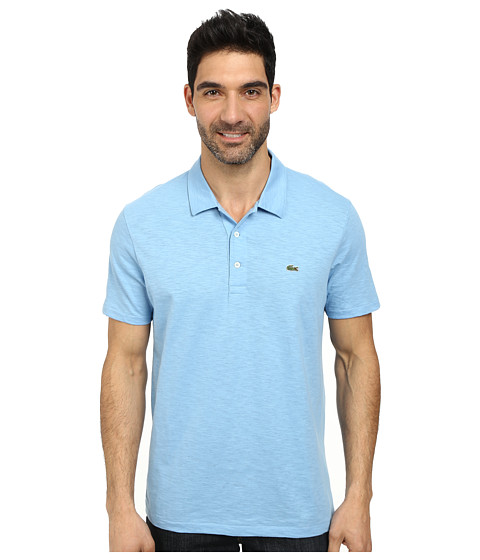 Lacoste - Slubbed Jersey Polo w/ Self Collar/Open Sleeve (Naval Blue) Men's Clothing