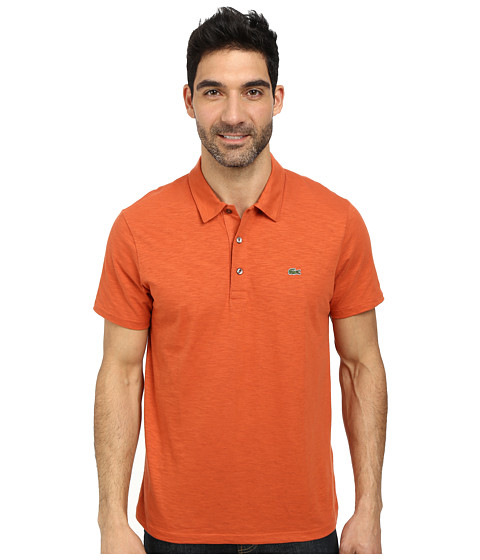 Lacoste - Slubbed Jersey Polo w/ Self Collar/Open Sleeve (Fall Orange) Men's Clothing