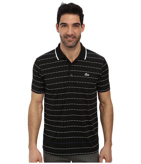 Lacoste - Sport Pique Ultra Dry Stripe Polo (Black/White/Raffia Matting) Men