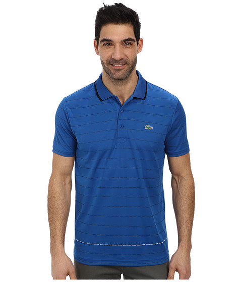Lacoste - Sport Pique Ultra Dry Stripe Polo (Laser/Black/White) Men