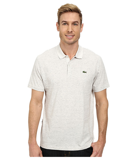 Lacoste - L!Ve Jaspe Jersey Slim Fit Fancy Polo (Cake Flour White) Men's Short Sleeve Pullover