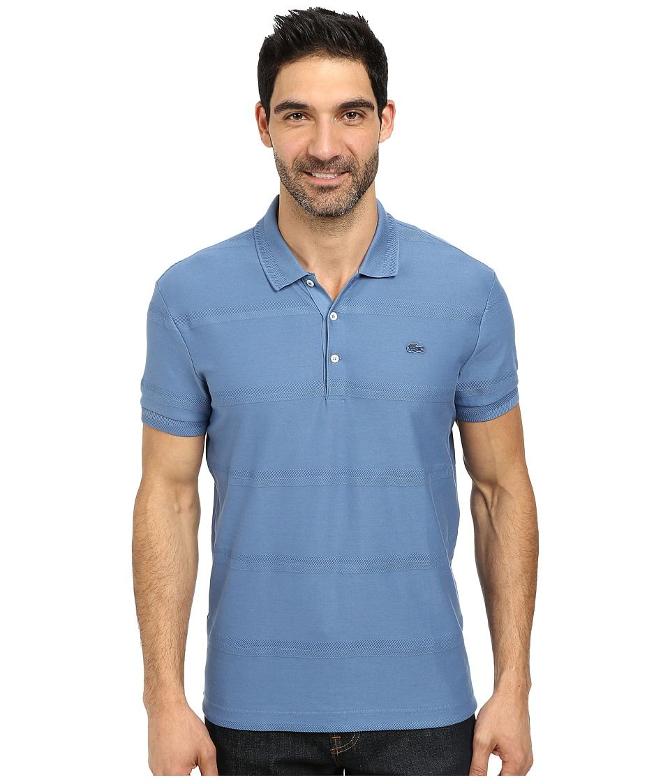 Lacoste - Jersey Polo with Tonal Wide Spaced H'Bone Stripe (Admiral Blue) Men's Short Sleeve Knit