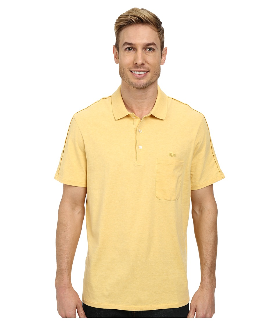 Lacoste - Jersey Heathered Soft Washed Polo (Gold Chine) Men's Short Sleeve Pullover