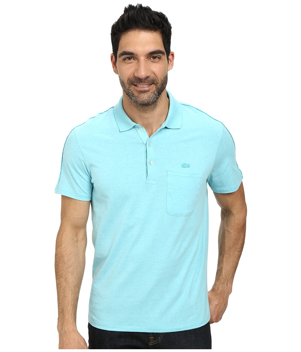Lacoste - Jersey Heathered Soft Washed Polo (Corsica Aqua Chine) Men's Short Sleeve Pullover