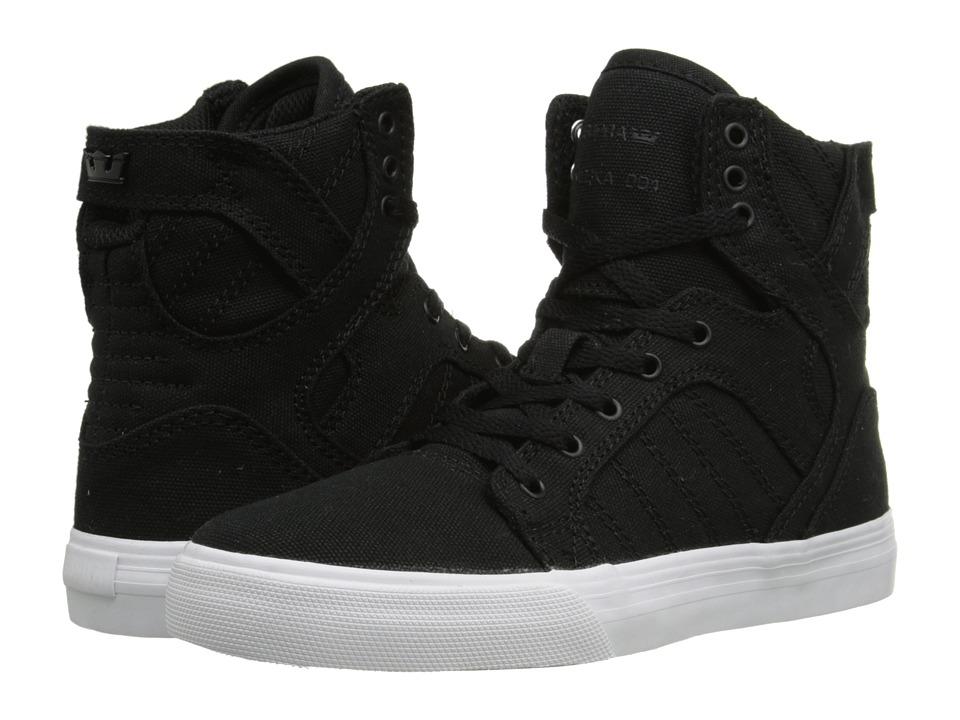 Supra Kids Skytop (Little Kid/Big Kid) (Black Canvas) Boys Shoes