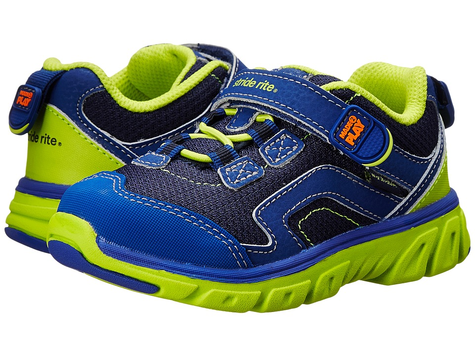 Stride Rite - M2P Jake (Toddler/Little Kid) (Navy/Green) Boy's Shoes