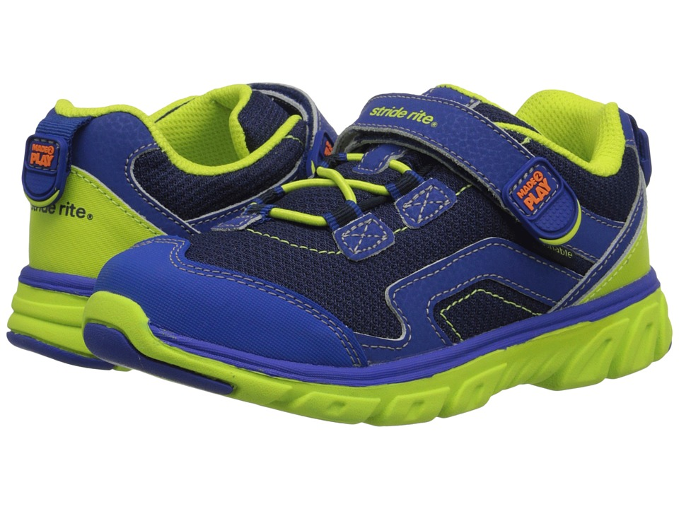 Stride Rite - M2P Jake (Little Kid) (Navy/Green) Boy's Shoes