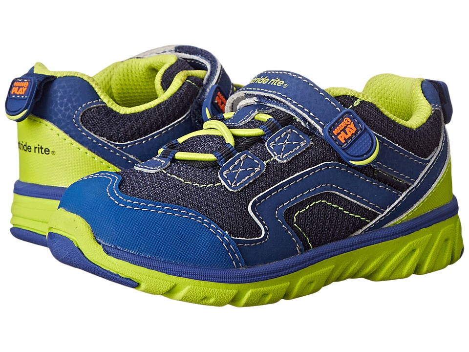 Stride Rite - M2P Jake (Toddler) (Navy/Green) Boy's Shoes