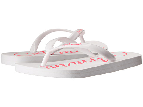 Armani Junior - White/Hot Pink Flip Flop (Little Kid/Big Kid) (White) Girls Shoes