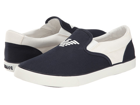 Armani Junior - Navy Slip-On Sneaker (Little Kid/Big Kid) (Indigo) Boys Shoes