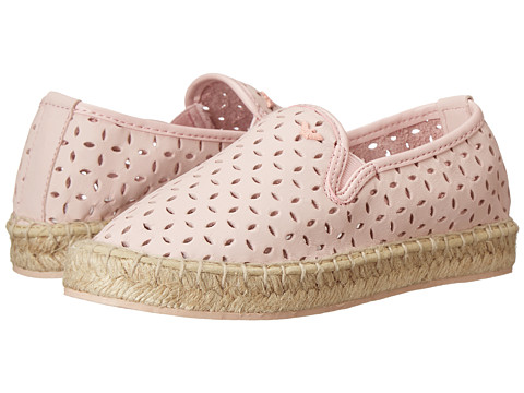Armani Junior - Pink Slip-On Leather Flat w/ Laser Cut Detail (Little Kid) (Pink) Girls Shoes