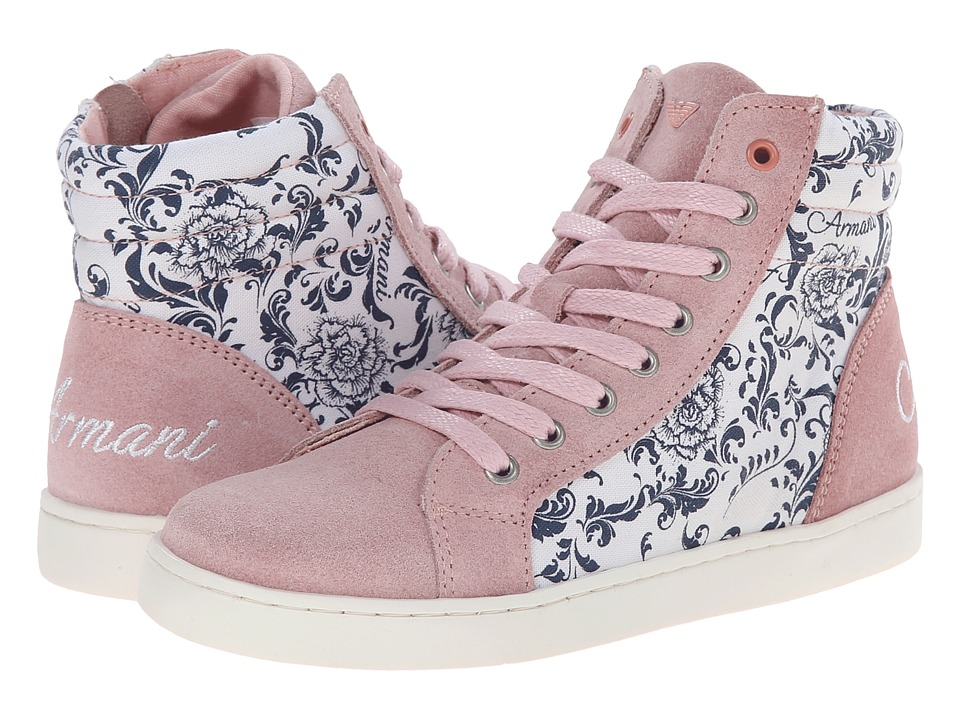 Armani Junior - All Over Floral/Pink High Top (Little Kid/Big Kid) (Patterned) Girls Shoes