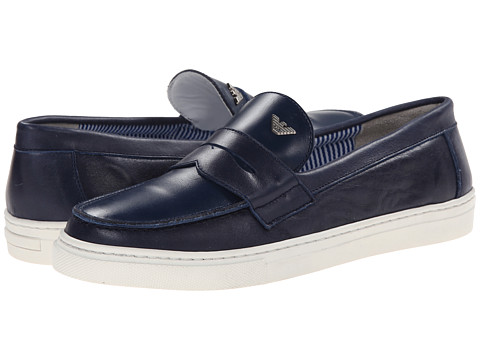 Armani Junior - Slip-On Leather Dress Shoe in Navy (Big Kid) (Indigo) Boys Shoes