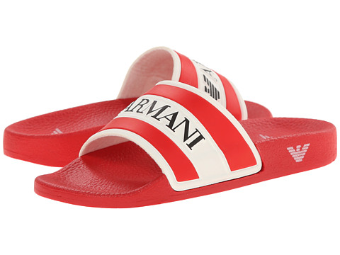 Armani Junior - Single Strap Armani Logo Flat Sandal in Red (Little Kid/Big Kid) (Red) Boys Shoes