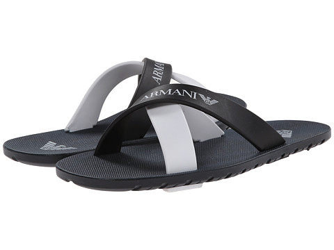 Armani Junior - Double Strap Sandal in Navy/White (Little Kid/Big Kid) (Indigo) Boys Shoes