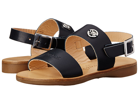 Armani Junior - Double Strap Leather Sandal (Toddler/Little Kid) (Indigo) Girls Shoes