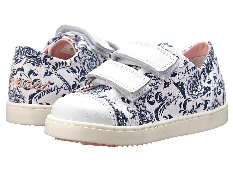 Armani Junior - All Over Floral/Pink Velcro Sneaker (Toddler) (Patterned) Girls Shoes
