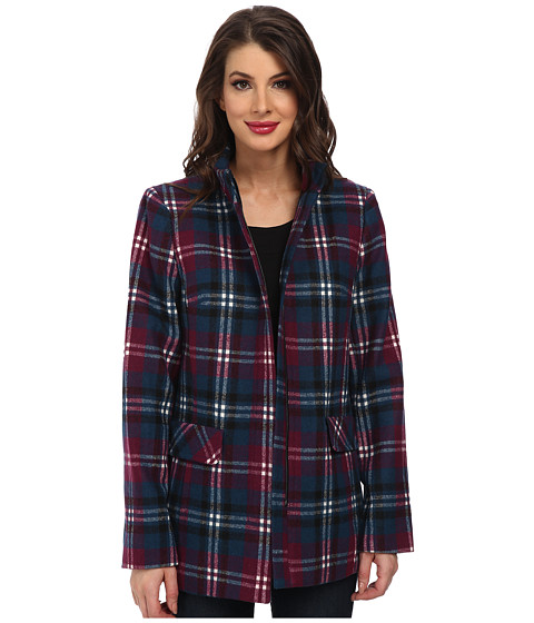 Jones New York - Funnel Neck Jacket (Plum Wine Multi) Women