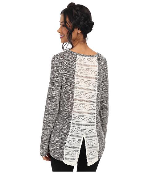 Jack by BB Dakota - Verity Lightweight Slub Sweater w/ Lace Inset (Black) Women
