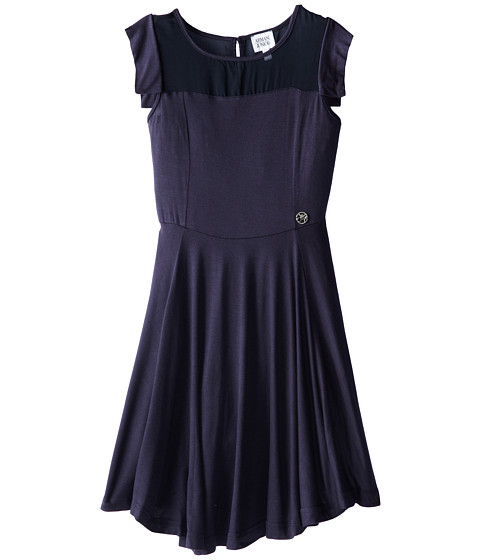 Armani Junior - Navy Jersey Dress w/ Shear Neckline Detail (Big Kids) (Indigo) Girl