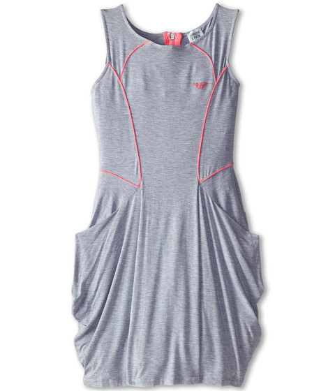 Armani Junior - Grey Traipeze Shape w/ Hot Pink Trim Dress (Big Kids) (Dark Grey) Girl