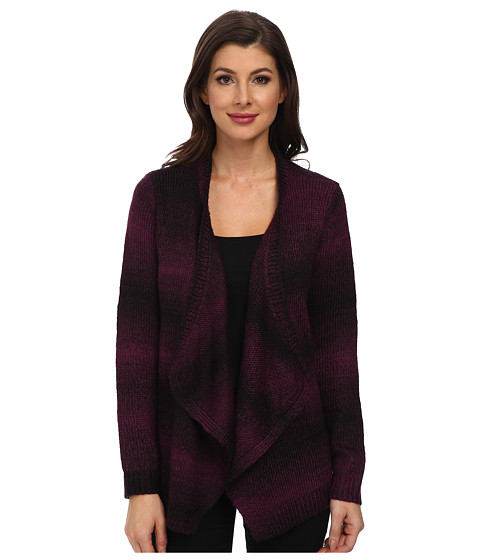 Jones New York - L/S Drape Front Cardigan (Plum Wine/Black) Women's Sweater