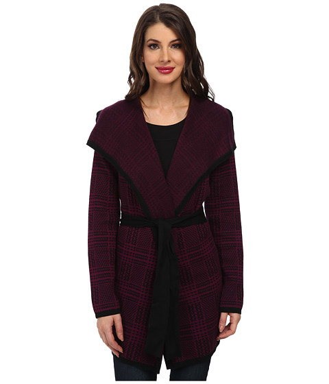 Jones New York - Long Sleeve Plaid Cardigan Sweater with Belt (Black/Plum Wine) Women's Coat