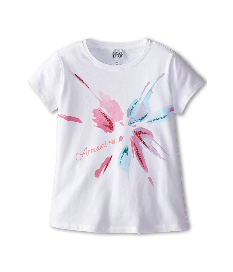 Armani Junior - Short Sleeve Logo Tee (Big Kids) (White) Girl