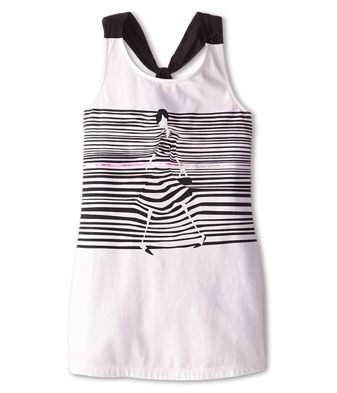 Armani Junior - Razor Back Stripe Tee w/ Giorgio Detail (Big Kids) (White) Girl