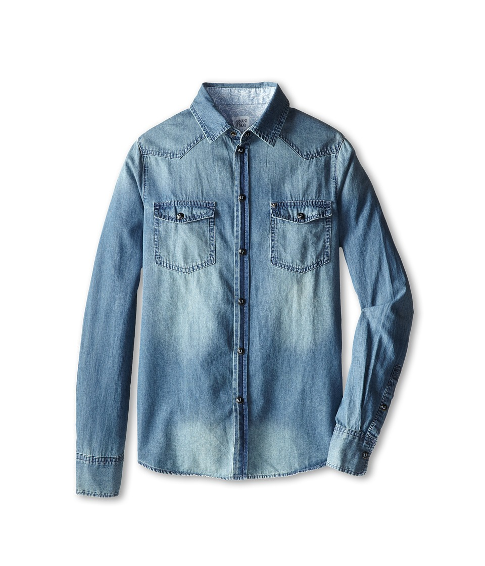 Armani Junior - Long Sleeve Denim Button Down Shirt (Big Kids) (Denim) Boy's Long Sleeve Button Up