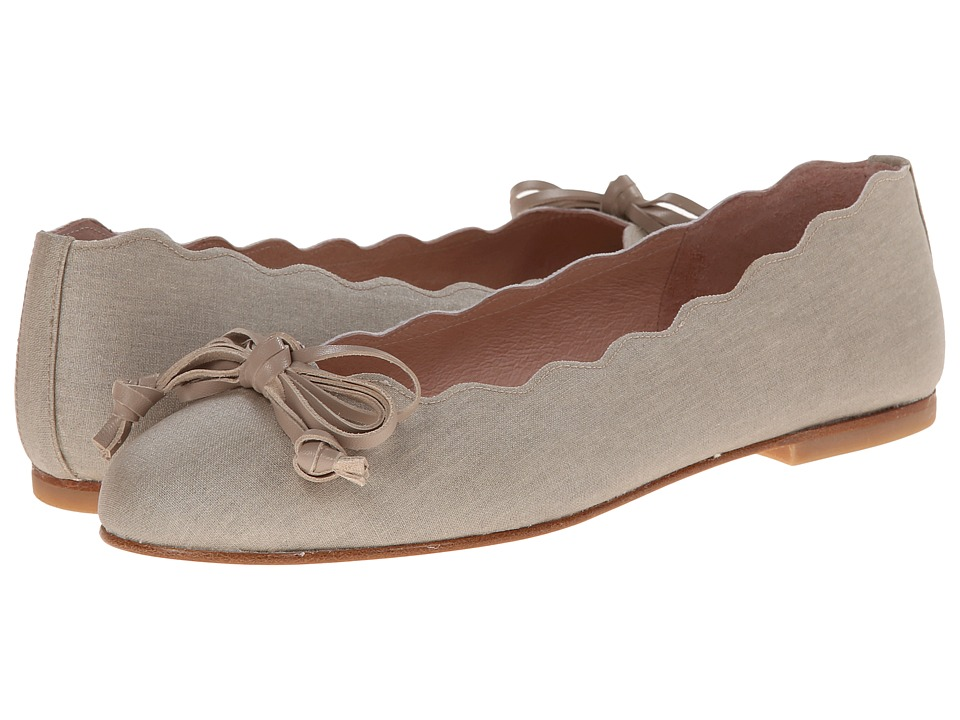French Sole - Jingle (Taupe Glazed Linen) Women's Flat Shoes
