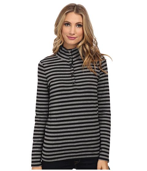 Jones New York - L/S Mock Neck Striped Pullover (Black Multi) Women