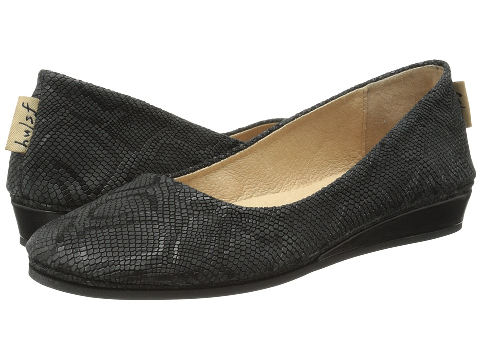 French Sole - Zeppa (Black Lizard Emboss) Women's Slip on Shoes