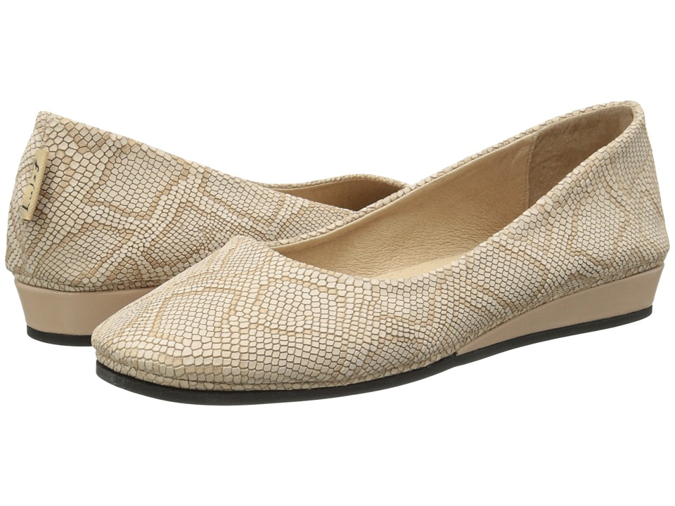 French Sole - Zeppa (Ecru Lizard Emboss) Women's Slip on Shoes