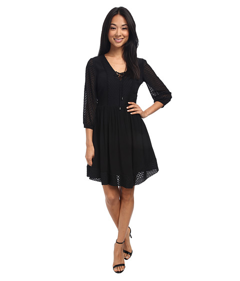 Jessica Simpson - Chiffon Lace Up Fit Flare Dress JS5E7138 (Black) Women