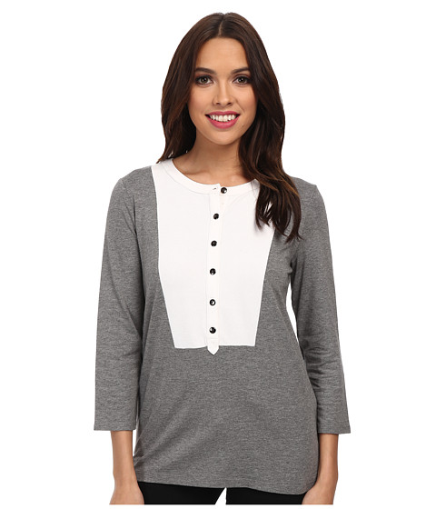 Jones New York - 3/4 Sleeve Split Neck Tunic (Medium Grey Heather/White) Women's Clothing