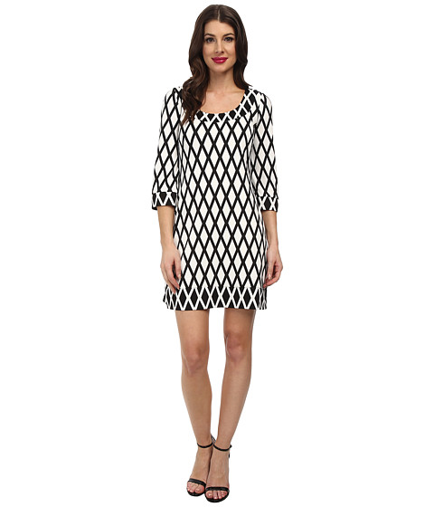 Jessica Simpson - Printed Ponte Shift Dress JS5U6934 (Black/Ivory) Women's Dress